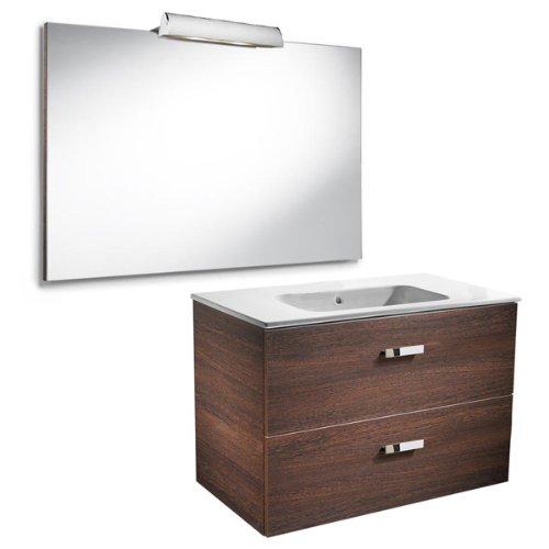 Roca A855857201 - Victoria Basic 800mm wengue (mueble base, lavabo, espejo y aplique)