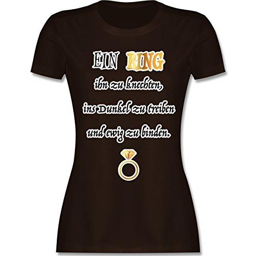Shirtracer JGA Junggesellinnenabschied - ein Ring. JGA - Damen T-Shirt Rundhals Braun
