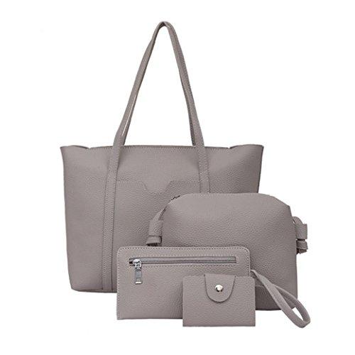 Borse Da Donna, Huhu833 4 Pezzi Da Donna Borsa A Tracolla Quattro Pezzi Shopping Bag Crossbody Portafoglio Grigio