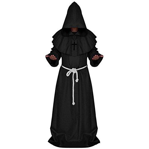 (Halskette Gewand Kapuze Und Gürtel Medieval Hooded Monk Costume Fancy Dress Priest Robe Halloween)