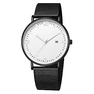 Lolamber-Armbanduhr-fr-Damen-Herren-Slim-Uhr-Armband-Frauen-Leder-Geschfts-Klassisch-Analog-Quarz-Dnn-Armbanduhr-mdchen-Luxus-Elegant-Schwarz-Uhr-mit-Wei-Zifferblat