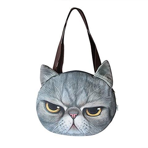 Liying Neu Umhängetasche Handtasche Taschen Damen Schultasche Schulrucksack Beutel Katze mit angenähten Ohren
