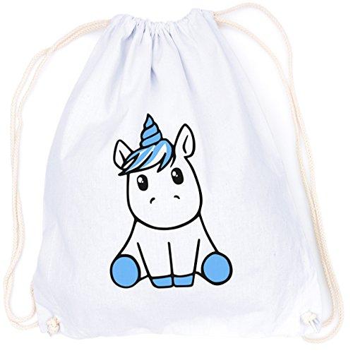 vanVerden Sport Turnbeutel Knuffiges süßes Einhorn / Sweet Fluffy Unicorn inkl. Geschenkkarte, Color:White (Weiß) - Blau