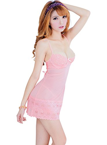 Shangrui Femmes Dentelle élastique Vêtements Ultra-minces Pyjama Sling(FZ1159) Rose
