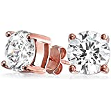 Bling Jewelry Rose Gold Plated Basket Set Round CZ Stud Earrings 925 Silver 5mm