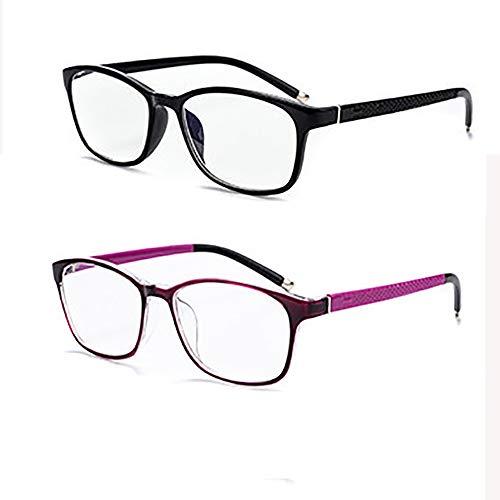 Augu 2er Pack 2019 Neue Anti-Blaulicht-Müdigkeits-Lesebrille Mode Elegante Brille UV Eyewear Unisex +1.00, 1.50, 2.00, 2.50, 3.00, 3.50, 4.00,+1.50
