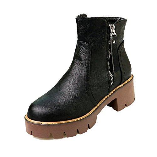 AgooLar Damen Mittler Absatz Rein Rund Zehe Reißverschluss Stiefel mit Metallisch, Schwarz-PU, 34