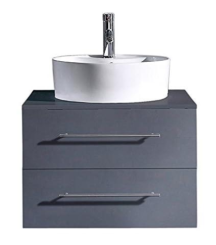 Badmöbel Casa Perge anthrazit seidenglanz mit Aufsatzwaschbecken