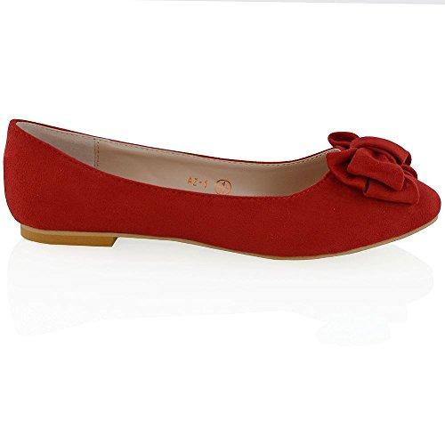 ESSEX GLAM Ballerina Donna Sintetico Fiocco Dettagliato Rosso Finto Scamosciato