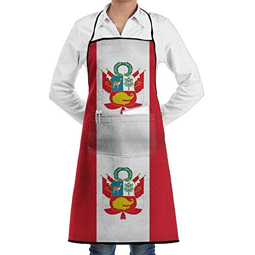dfgjfgjdfj Peru Flag Schürze Lace Adult Mens Womens Chef Adjustable Polyester Long Full Black Cooking Kitchen Schürzes Bib with Pockets for Restaurant Baking Crafting Gardening BBQ - Kostüm Von Peru