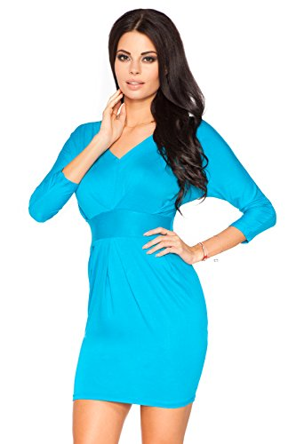 Futuro Fashion Femmes Soirée Empire Mini Robe Col V 3/4 Manche Crayon Style Pull-over 8182 Tailles 8-18 UK Turquoise