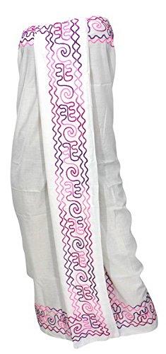 La Leela gonna soffice spiaggia di rayon nuotare Hawaii ricamati sarong coprire 72x42 in Bianco Calma