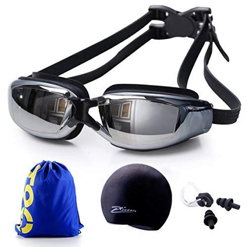 ZJHK Schwimmbrille Professionelle Antifog Myopie Schwimmbrille Einstellbare Schwimmbrille Mit Kappe Und Tasche Männer Frauen Schwimmbrille Sport Schwimmen Brillen