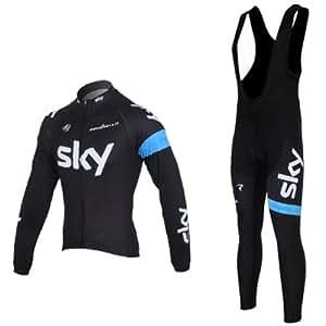 2013 Tour de France Sky Team Long-sleeved Cycling Jersey Strap Set (S)