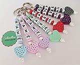 Schlüsselanhänger mit Namen Kinder Gravur Kindergartentasche Schultasche Rucksack Herz Schlüsselring mit Name | Mädchen viele Farben Namenskette
