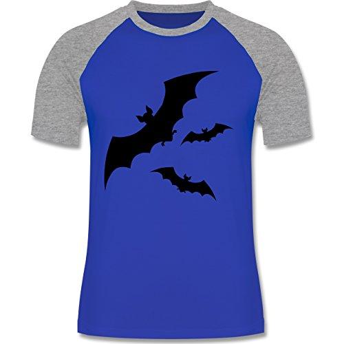 Halloween - Fledermaus - zweifarbiges Baseballshirt für Männer Royalblau/Grau meliert
