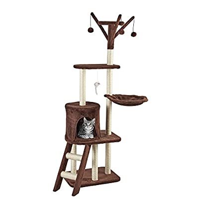 Your Home Cat Scratching Post Pet Activity Centre Extra Large Tree with Scratcher, Rope Bed & Lounger