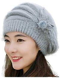 9f231f680c0e Susenstone Femme Chapeau Beret Bonnet A Fleurs Tricot Chapeau Polaire Hiver  Beanie Chaud Mode Vintage Chapeau