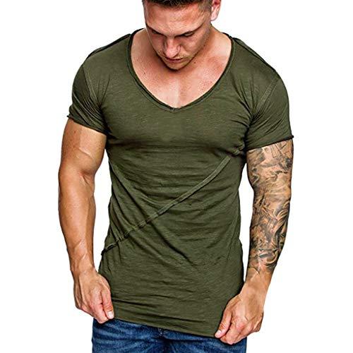 Tyoby Sommer Herren Fitness T-Shirt Einfarbige Nähte Sport Kurzärmliges Oberteil Slim Fit Herrenbekleidung(Armeegrün,L)