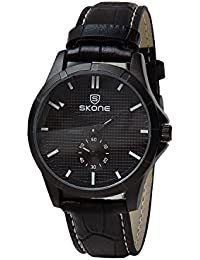 Skone 9415EG-3 Analog Black Dial Leather Strap Wrist Watch / Casual Watch - For Men's