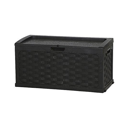 Auflagenbox / Gartenbox / Kissenbox Rattan Design *Farbe schwarz* ca. 117 x 56 x 56 cm