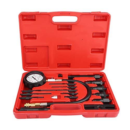 Pressure Tester, 17Pcs Pressure Diagnostic Tool Motore Manometro Pressione Motore Compressione Calibro a compressione Diesel per auto