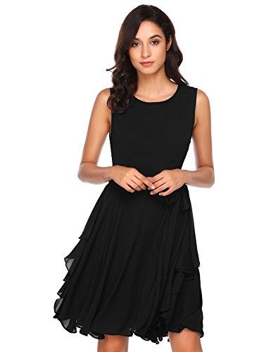 Zeela Damen Elegantes Chiffon Kleid Asymmetrisches Festliches Brautjungfernkleid Abendkleid Ballkleid mit abnehmbarem Gürtel Schwarz