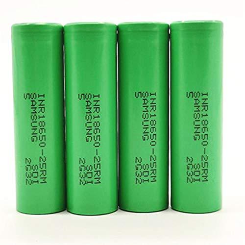 Samsung High Drain 25R 20A 2500 mAh 3,6 V Flat Top Akkus (grün) 4 Packungen