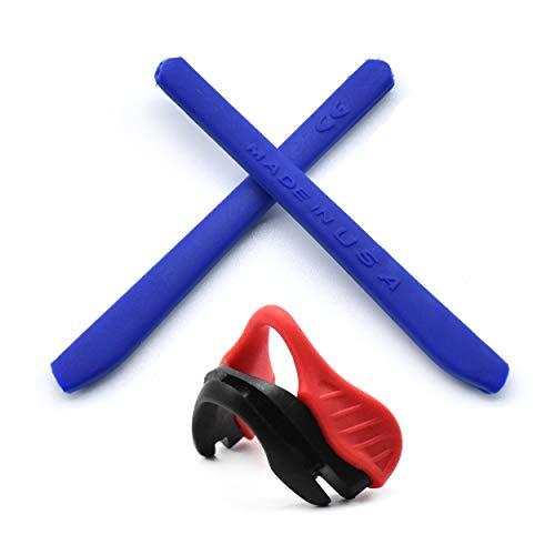 HKUCO Reinforce Blau Ersatz Silikon Bein und Rot Nase Pads für Oakley EVZero OO9308 Gummi-Kit