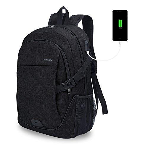 Chrislley Laptop Rücksack, Damen Herren Notebook Business Tasche mit USB Kabel und Anschluss für bis zu 15. 6 Zoll Stylisch Oxford Rücksack Gepolstert Daypacks für Arbeit Schule Outdoor (Schwarz)