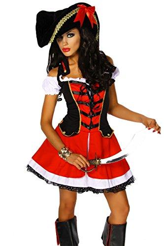 Karneval Mottoparty Traumhaftes Piraten-Kostüm rot 2-teilig GrS-M, Größe - Bilder Piraten Kostüm