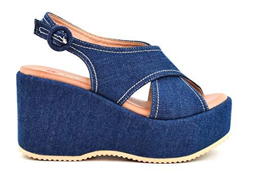 Zapatos Sandalias con cuña tacón Plataforma Alta con Tiras Anchas Cruzadas de Ante Antelina