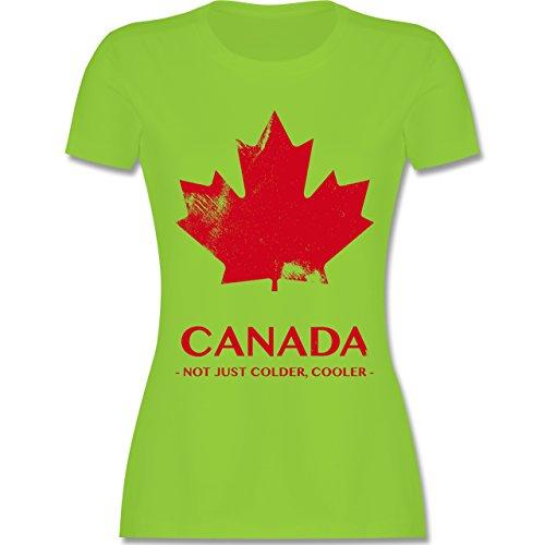 Shirtracer Länder - Canada Vintage Not Just Colder Cooler - Damen T-Shirt Rundhals Hellgrün
