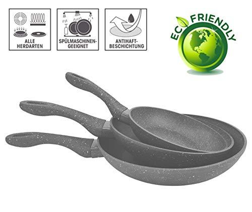 FRX 3 TLG. Pfannenset mit Antihaft Beschichtung Bratpfannen Bratpfannenset Keramik Pfanne Set Induktion (3tlg. Grau)