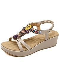 481cdeb0 Hishoes 2019 Sandalias Mujer Chanclas Tacon del Verano Cómodos Zapatos  Bohemias Las Sandalias Planas