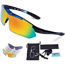 Gafas de Sol Deportivas Polarizadas,Carfia TR90 UV400 Unisex Gafas de Sol Deportivas Polarizadas 5 Lentes de Cambios Incluido para Deporte y Aire Libre Ciclismo Conducción Pesca Esquiar Golf