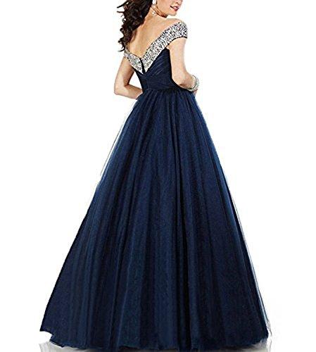 Fanciest Damen Cap Sleeve Beaded Tulle Lang Brautjungferkleider Navy Blue Burgundy