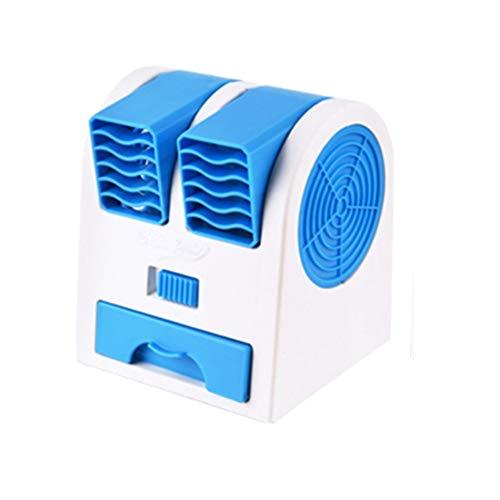 NN-xUE Mini-Lüfter, Dual-Port-Lüfter, USB-Plattenlüfter, luftgekühlter Klimaanlagenlüfter, doppelter Verwendungszweck, tragbarer Umluftkühler,Blue (Wenn Ich 100 Werden)