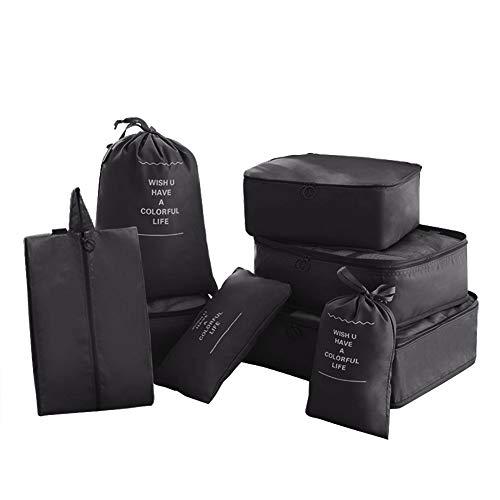 8 in 1 Kleidertaschen Set Koffer Organizer Reise Kleidertaschen Reisetasche in Koffer Wäschebeutel Schuhbeutel Kosmetik Aufbewahrungstasche Farbwahl Schwarz EINWEG