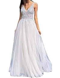 Amazon.it  abito da sposa bianco lungo - 38   Donna  Abbigliamento f670f19ef9b