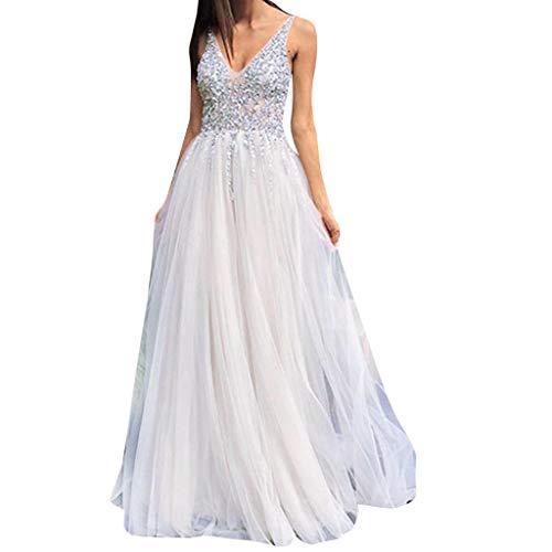 958394229 Vestido de Novia para Boda Blanco Vestidos de Fiesta Mujer Largos Elegante  POLP Escote en V