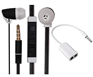 Value Combo Of Premium 3.5mm Designed In Ear Bud Headset Earphones and Stereo Jack Splitter Cable For HTC Desire 826 Dual SIM -Black