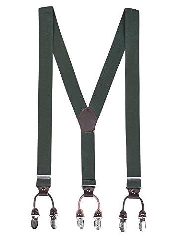 Herren Basic 6 Clips Y-Form 3,5cm Breit Hosenträger Hochelastisch Längenverstellbar - 110cm Armee (Grün Harz Kreuz)
