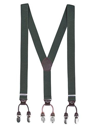 Arme Harz (Herren Basic 6 Clips Y-Form 3,5cm Breit Hosenträger Hochelastisch Längenverstellbar - 110cm Armee Grün)