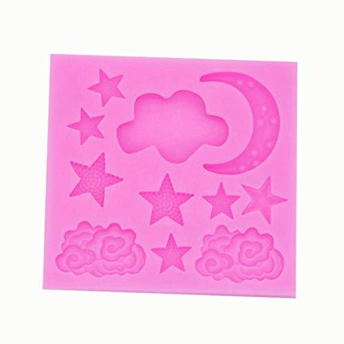 Floridivy Molde de silicona Nuvola Stella Luna Mongolfiera Fondente di Cioccolato Fondente Torta molde arcobaleno Con nube muffa di Colore Sugar casuale Star Chocolate Mold
