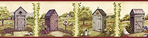Chesapeake PUR44552B Fredley Blue Country Meadow Outhouse Wallpaper Border by Chesapeake
