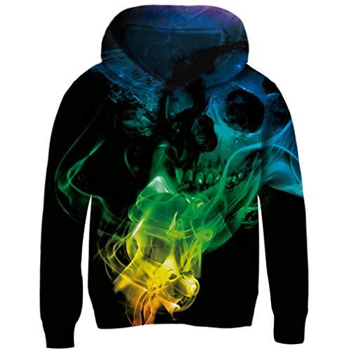Funnycokid Teen Jungs Pullover Pullover Kapuzenpullover 3D Drucken Skull Fire Pullover Große Taschet Sweatshirts Pullover Kapuzenpullover Pullover Große Taschet10-12 Jahre