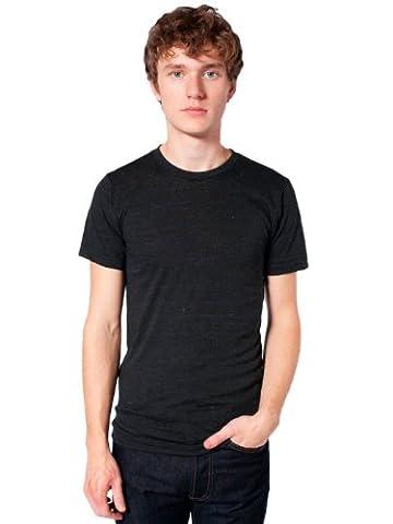 American Apparel Unisex Tri-Blend Short Sleeve Track Shirt, Tri-Black, Small