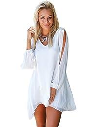 Lookbook Store® Damen Weiß MiniKleid Langärm Chiffon Cutout Puffärmel