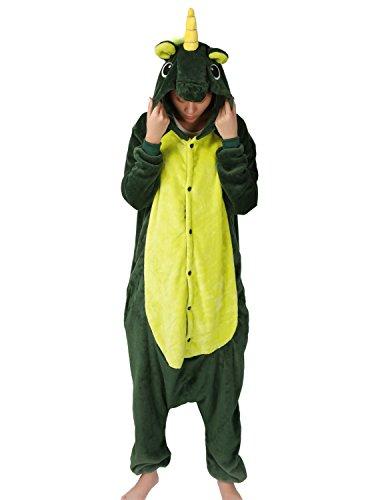 Costume Carnevale Halloween Unicorno Pigiama Intero Party Cosplay Anime Unisex Adulto per Regalo Verde